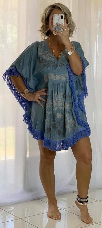 Embroidered Fringe  Dress Blue
