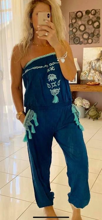 Embroidered jumpsuit - Blue + Aqua