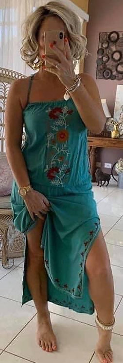 Embroidered Maxi Dress - Green