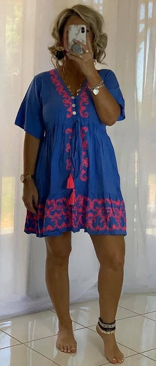 Embroidered Mini Dress  - Blue + Pink