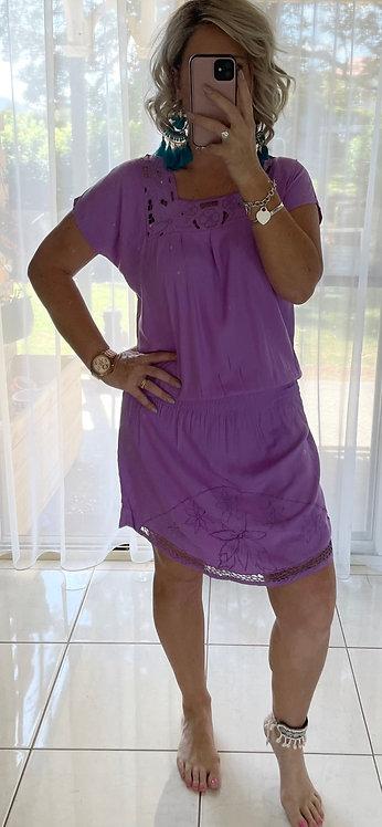 Cutout Mini Dress - Purple