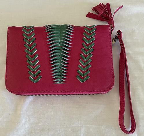 Handmade Leather Purse - Dark Pink + Green Woven