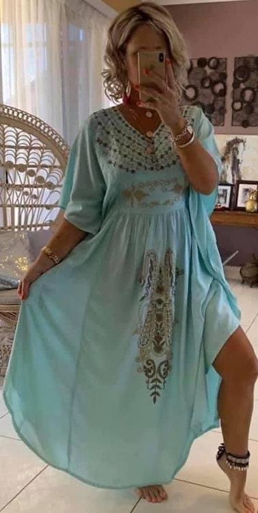Kaftan - Aqua with beige embroidery