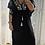 Thumbnail: Kaftan - Black with aqua Embroidery