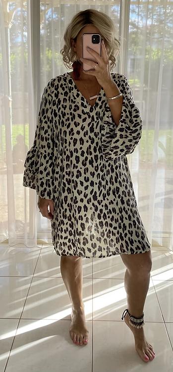 Larnie Shift Dress - Cream Leopard