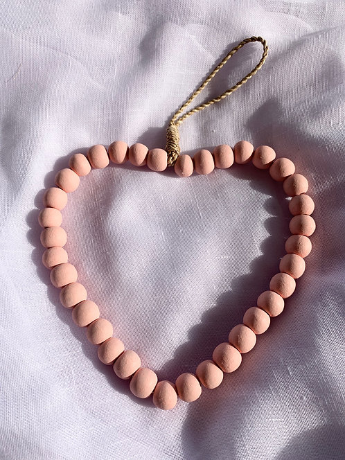 Stone & Woods Beaded Heart Pink