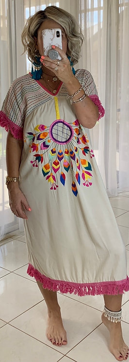 Embroidered  Dress - White + dreamcatcher