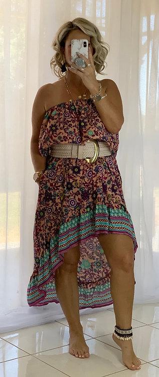 Roxy Dress - Pink + Aqua