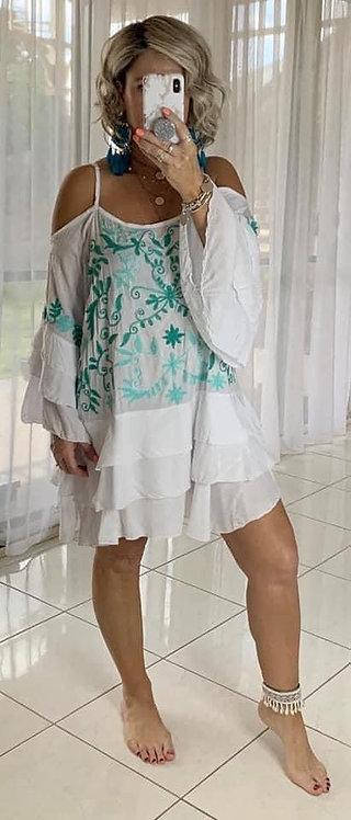 Embroidered Cold Shoulder Dress - White + Green