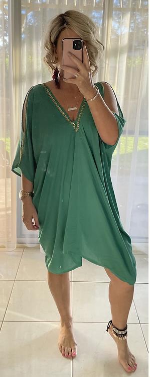 Kaftan - Green Embellished