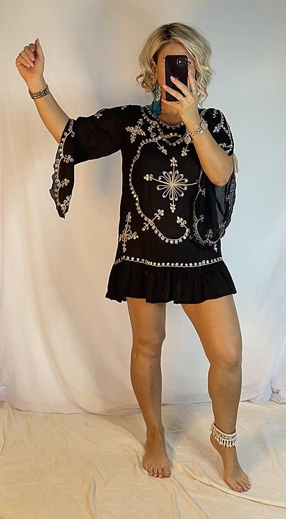 Embroidered Mini Dress  - Black +  Beige + Sequins