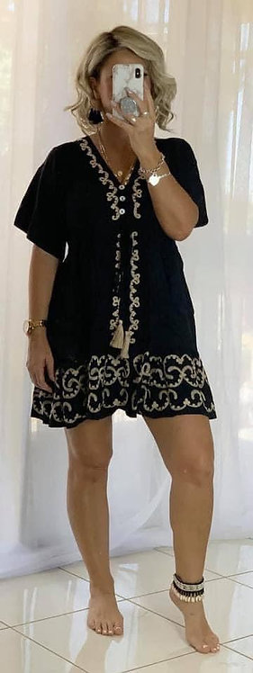 Embroidered Mini Dress  - Black +  Beige