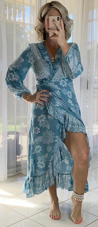 Ella Wrap Long sleeve - Blue Bindi