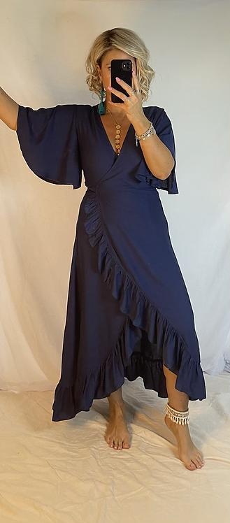 Ella Flutter Wrap Dress -  Navy