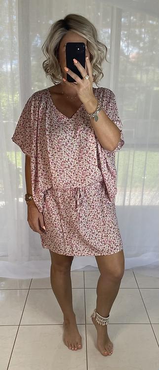 Peppa Batwing Dress - mini floral
