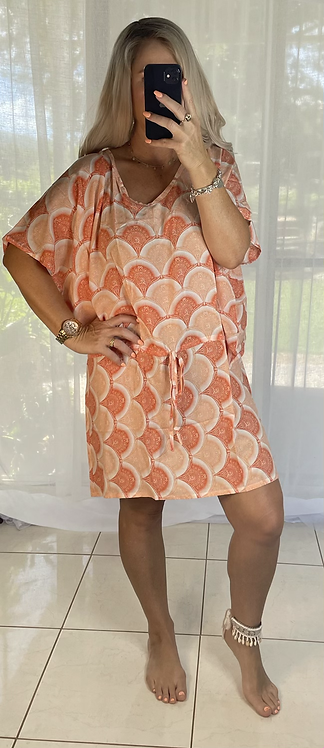 Peppa Batwing Dress - orange swirls