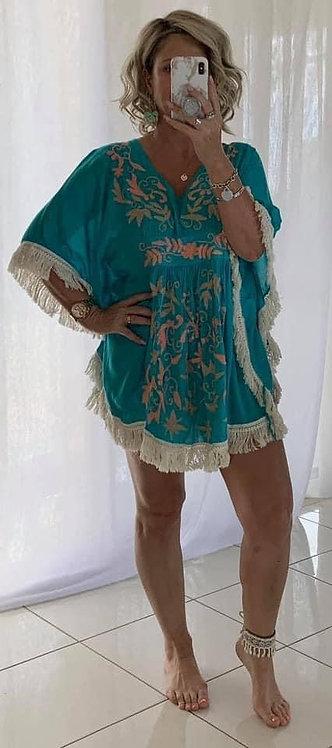 Embroidered Fringe  Dress - Dark Aqua