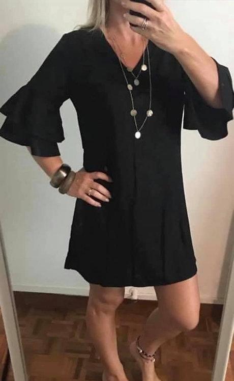 Larnie Ruffle Shift Dress - Black