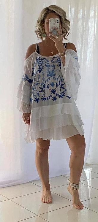 Embroidered Cold Shoulder Dress - White + Blue