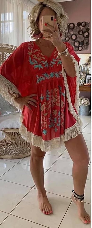 Embroidered Fringe  Dress - Red