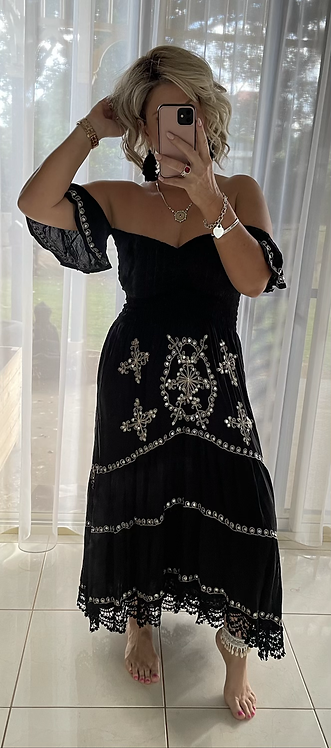 Embroidered Sequin Maxi Dress - Black