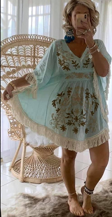 Embroidered Fringe  Dress Aqua