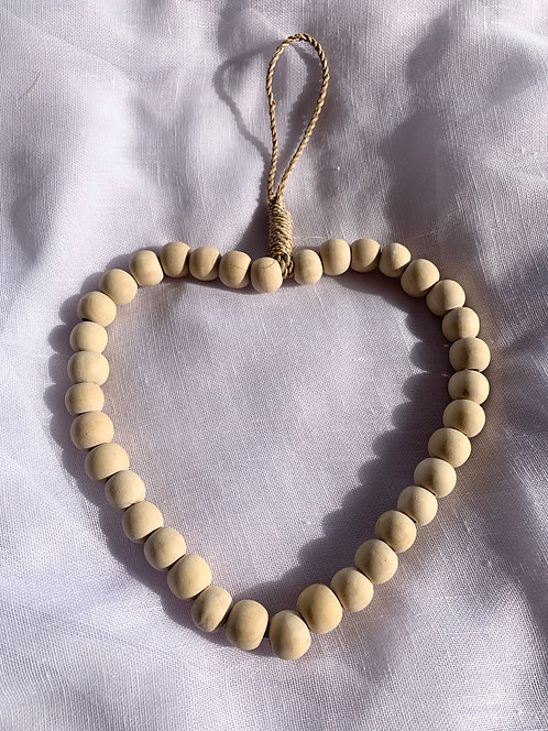 Stone & Woods Beaded Heart Natural