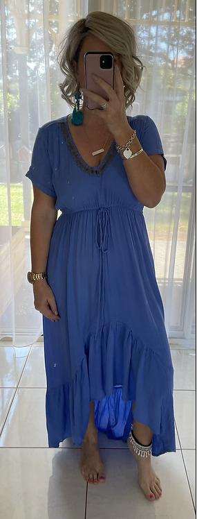 Embellished Hi lo Dress - Blue