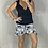 Thumbnail: Aggie Short Wrap Skirt -  Navy Tropical