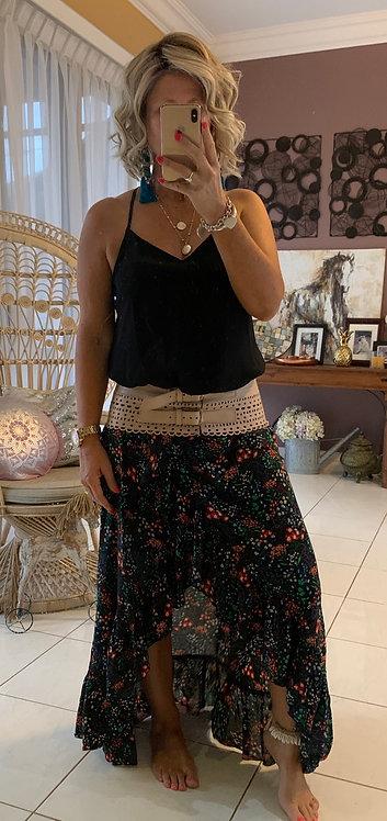 Halo Wrap Skirt - Black floral