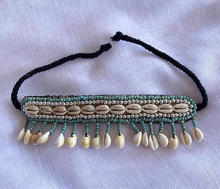 Handmade Shell Anklet - Aqua