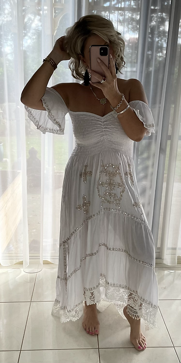 Embroidered Sequin Maxi Dress - White