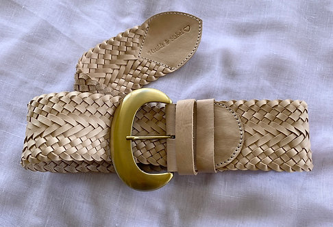 Leather Woven Belt - Natural
