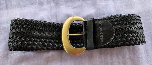 Leather Woven Belt - Black