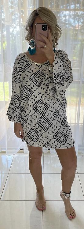 Embellished Dress Elastic waist - Black & White Diamond