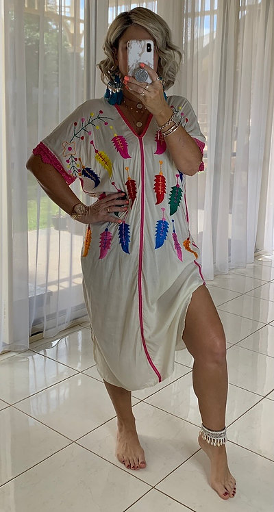 Embroidered  Dress - White + Feathers