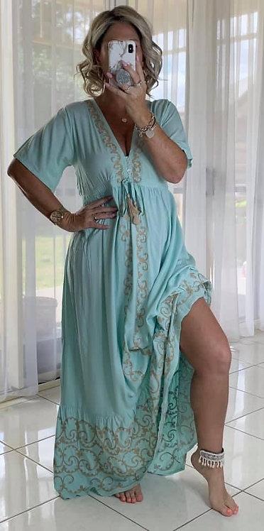 Embroidered Maxi Dress  - Aqua
