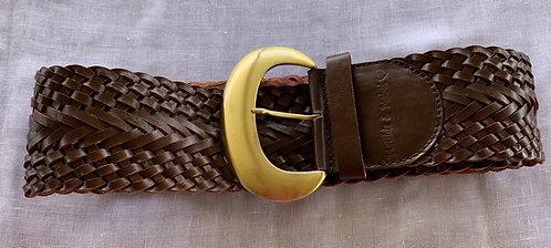 Leather Woven Belt - Dark Brown