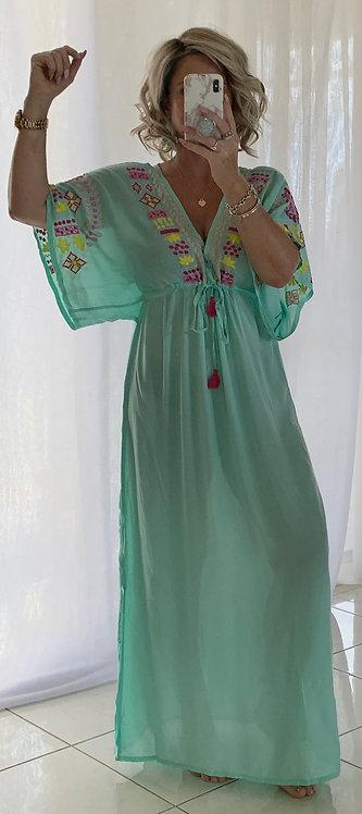 Kaftan - Aqua with multi Embroidered