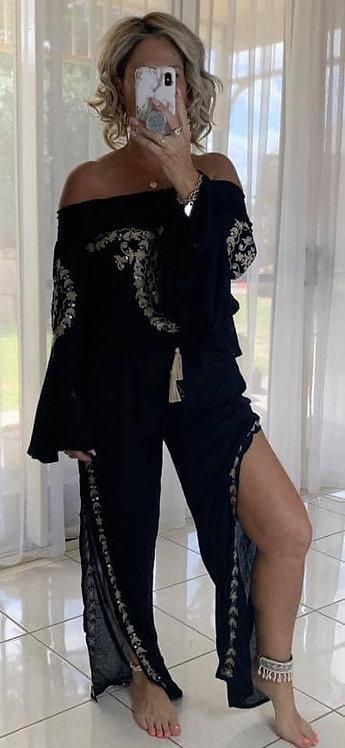 Embroidered jumpsuit - black + cream
