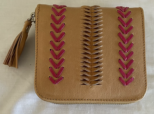 Handmade Leather Purse - Natural + pink woven