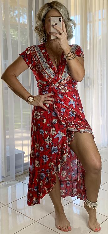 Ella Wrap - Red Hibiscus *****