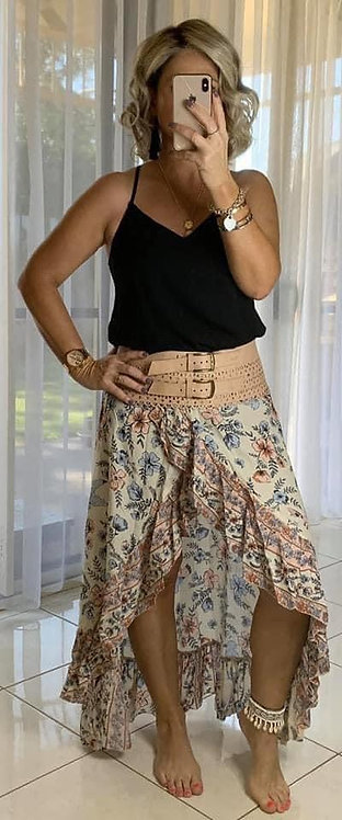 Halo Wrap Skirt -  Cream hibiscus