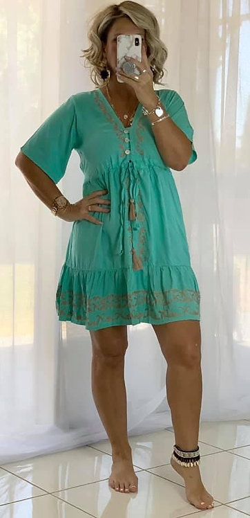 Embroidered Mini Dress  - Green + Beige