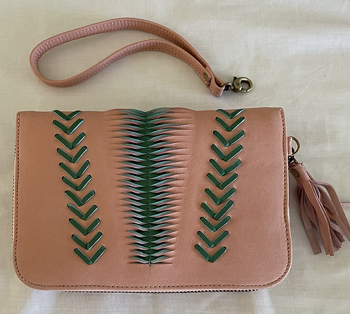 Handmade Leather Purse - Pink + Green woven