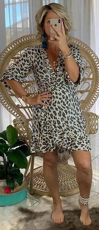 Juno Short Wrap - Cream Leopard