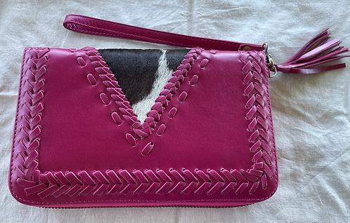 Handmade Leather Purse - Pink