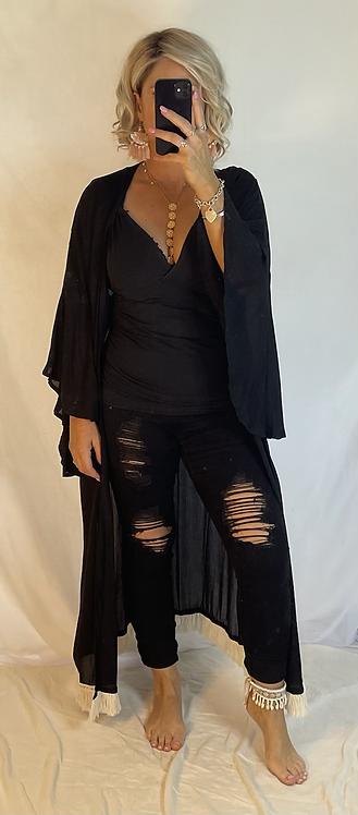 Gracie Kimono Cover - Black with fringe