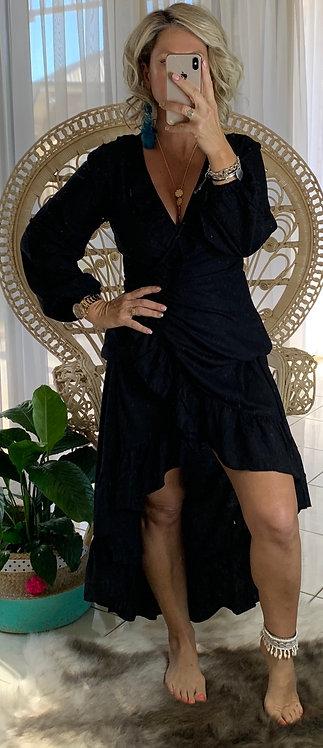 Ella Wrap Long Sleeve - Midnight Black