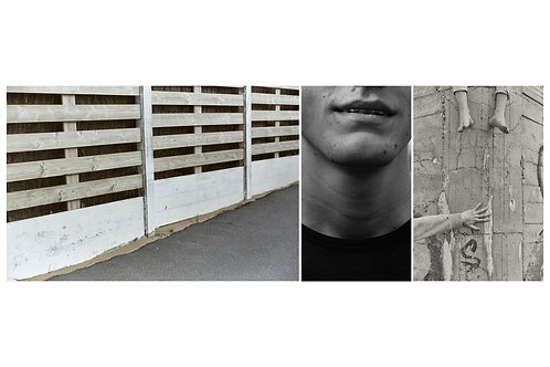 Triptyque Fence + boy with dental braces + Hand on the bunker